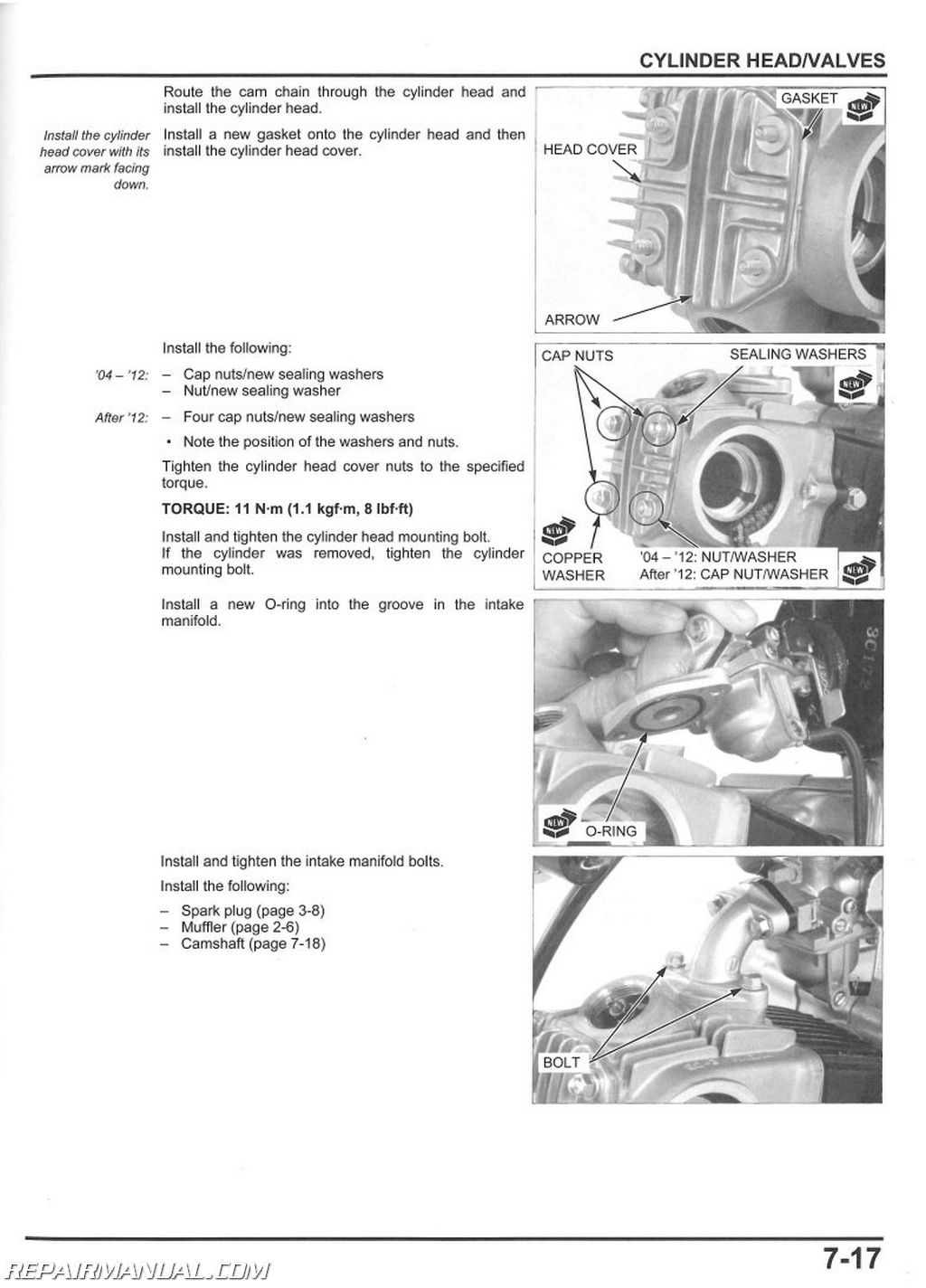2004-2017 Honda CRF50F Motorcycle Service Manual