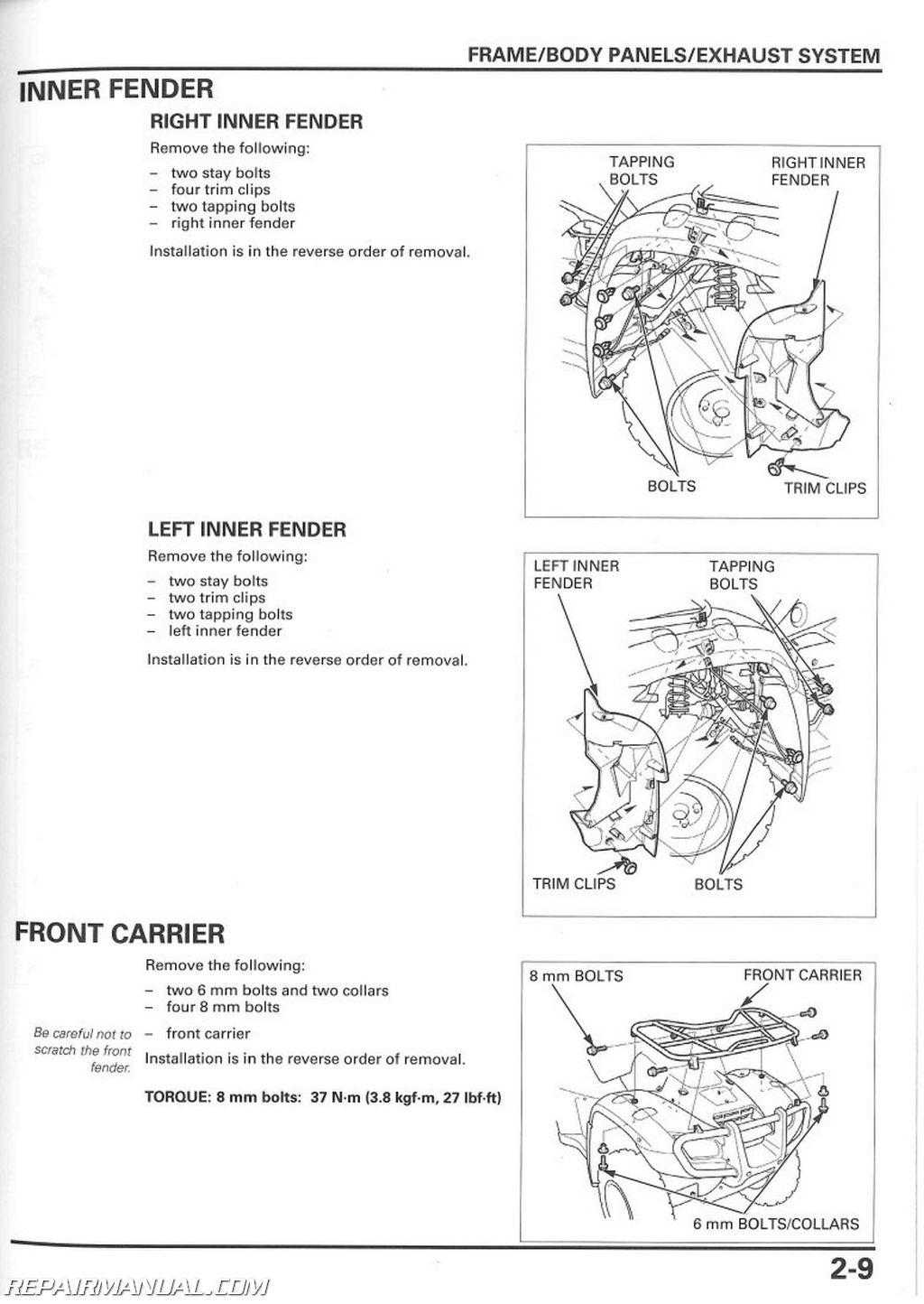 2003 honda rubicon service manual