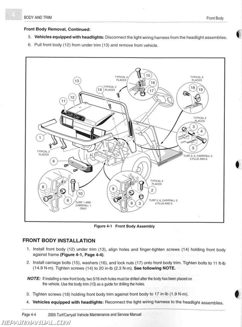 medium resolution of 2005 club car turf carryall