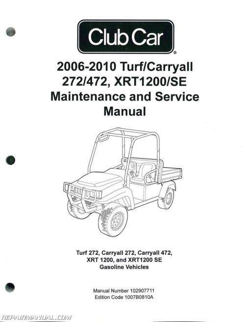 small resolution of 2006 2010 club car turf carryall 272 472 xrt1200 se turf 272 carryall 272 carryall 472 xrt 1200 and xrt1200 se gas service manual