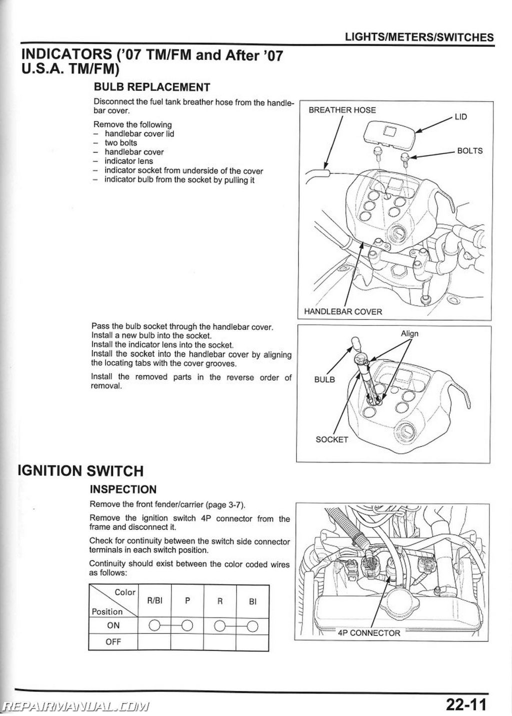 2006 Honda Rancher 350 Wire Diagram 2007 2013 Honda Trx420fe Fm Te Tm Fpe Fpm Atv Rancher