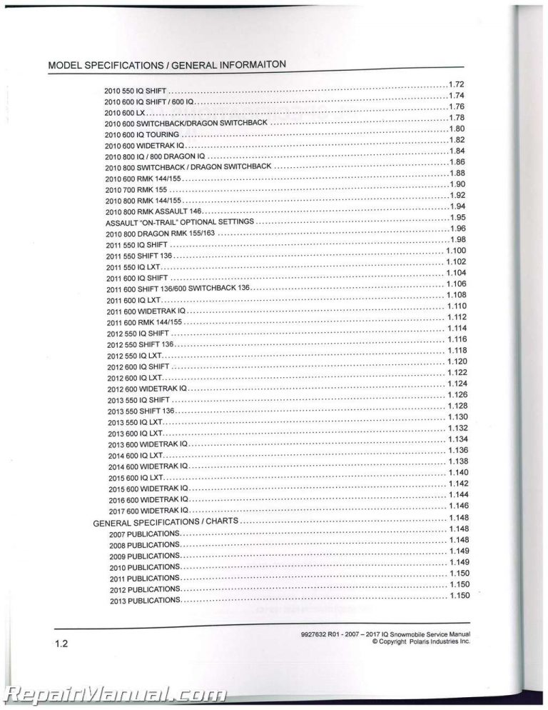 2007-2017 Polaris IQ 600 Widetrak Snowmobile Service Manual