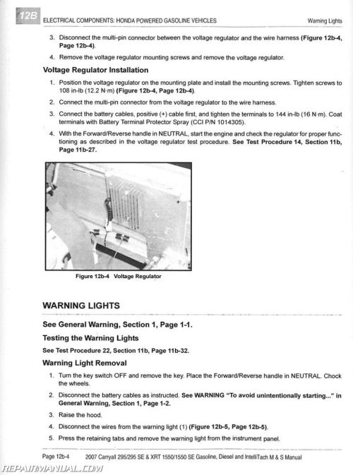 small resolution of 2007 club car carryall service manual 295 295se xrt 1550 1550se gas diesel intellitach homologated