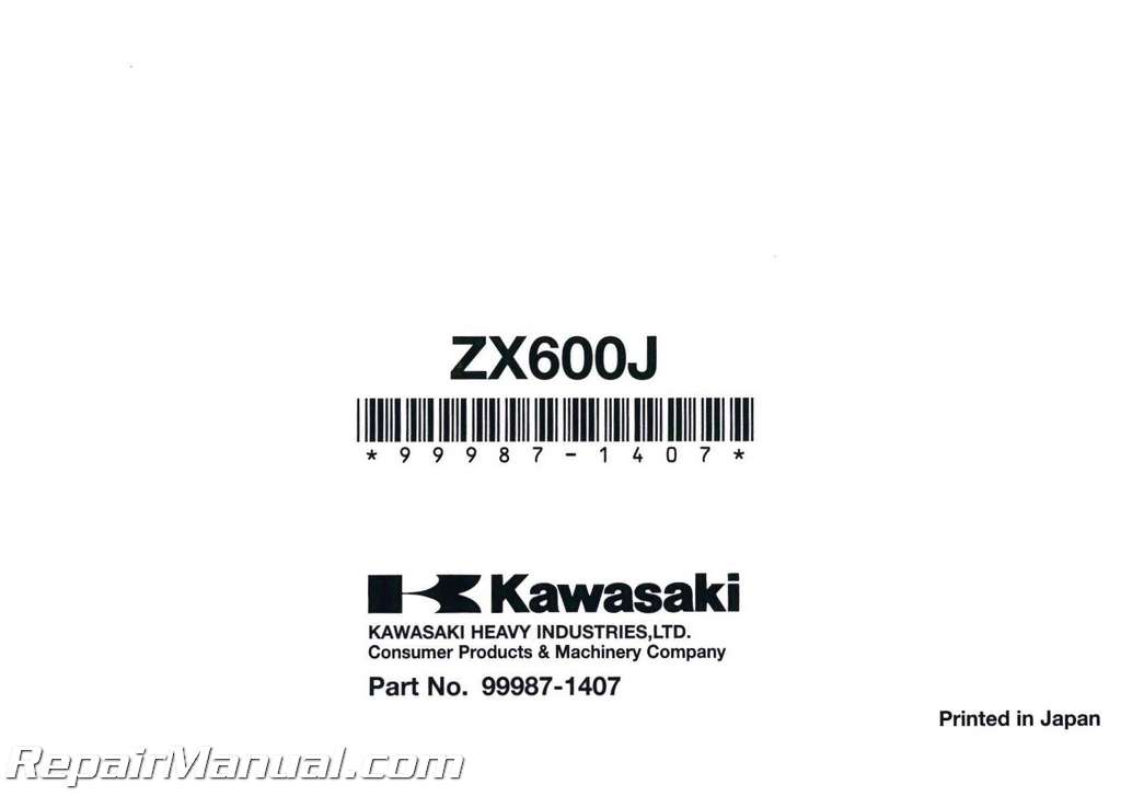 2007 Kawasaki ZX600J Owners Manual