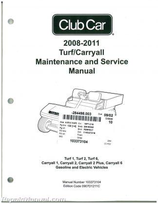 2008-2011 Club Car Turf, Carryall Turf 1, Turf 2, Turf 6