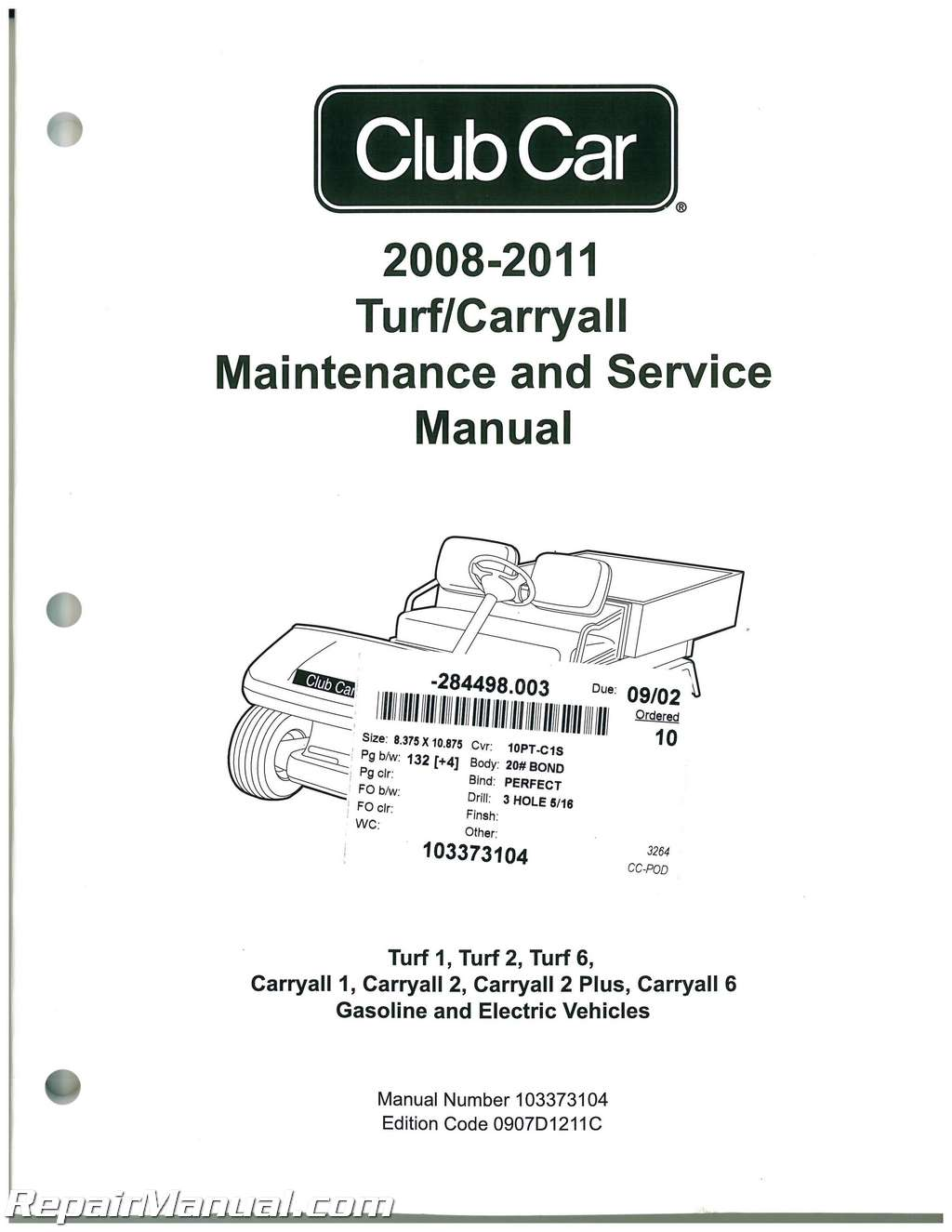 2008-2011 Club Car Turf, Carryall Turf 1, Turf 2, Turf 6