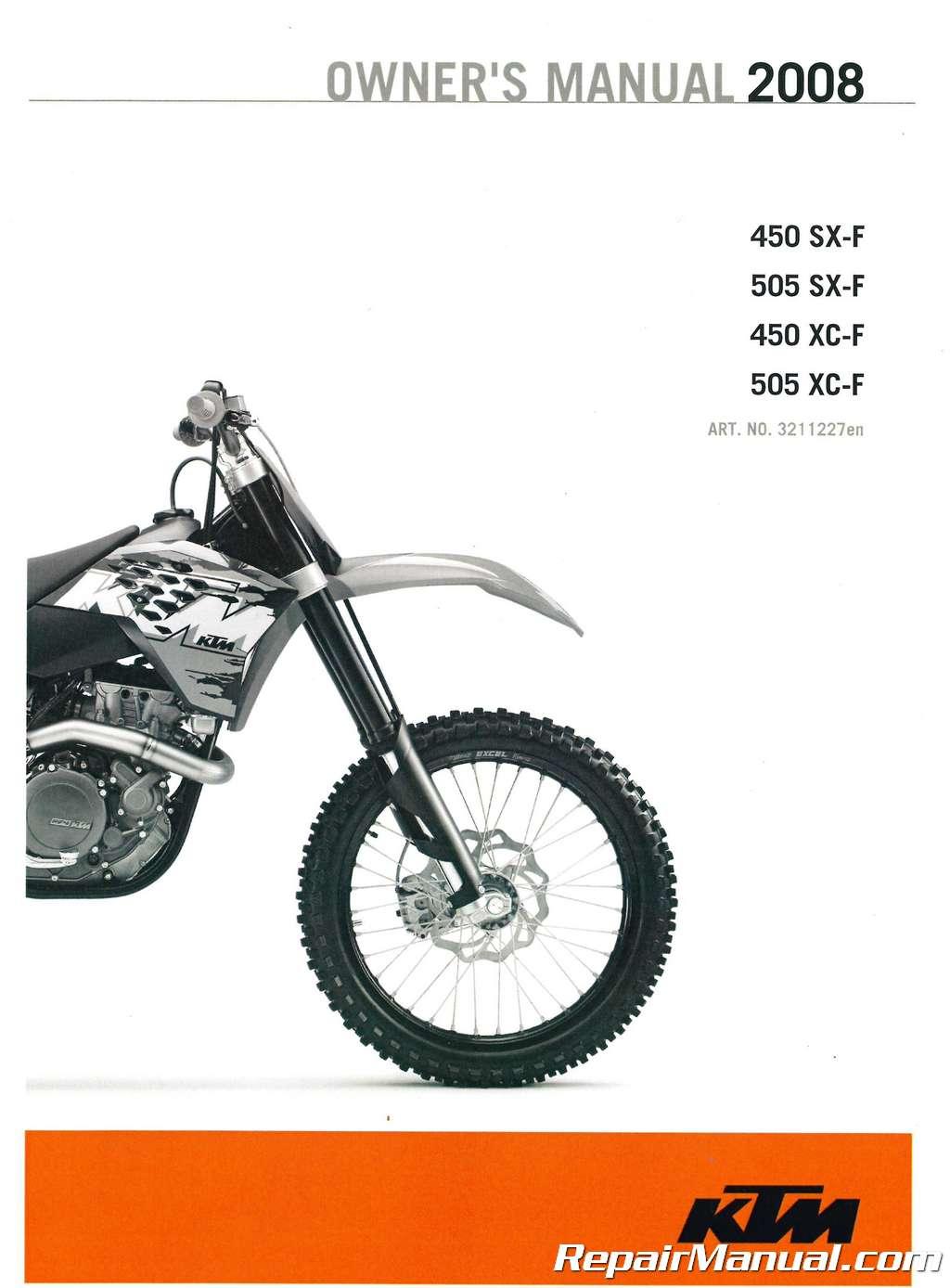 hight resolution of 2008 ktm 450 sx f 450 xc f 505 sx f xc f owners manual paper ktm 450 sx f wiring diagram