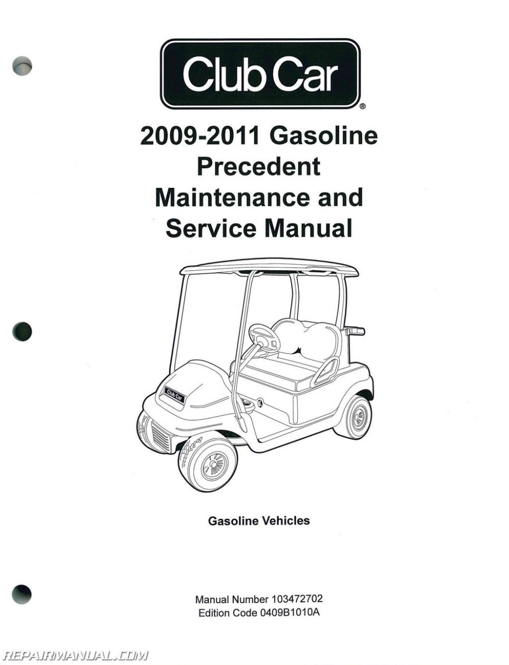 medium resolution of 2009 2011 club car gasoline precedent maintenance and service manual 2009 club car precedent gas wiring diagram