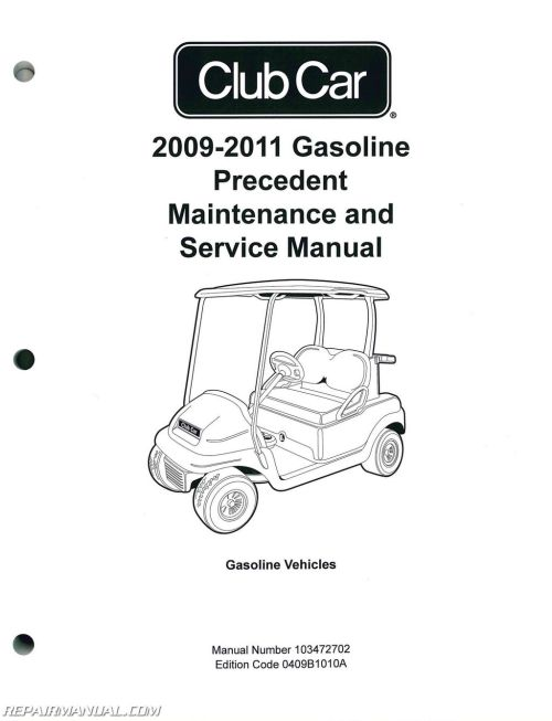 small resolution of 2009 2011 club car gasoline precedent maintenance and service 1986 club car fuse box source 36 volt club car wiring 1986 wiring diagram