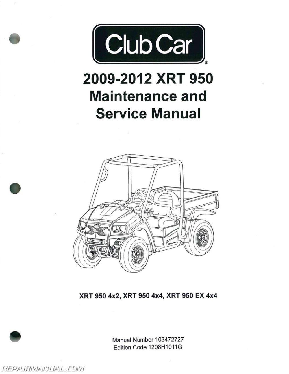 medium resolution of 2009 2012 club car xrt 950 maintenance golf cart service manual2012 club car wiring diagram