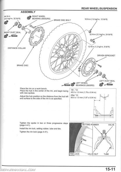 2009-2016 Honda CRF450R Motorcycle Service Manual