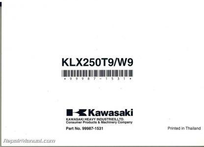 2009 Kawasaki KLX250SF KLX250W Motorcycle Owners Manual