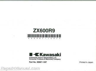 2009 Kawasaki ZX600R Ninja ZX-6R Motorcycle Owners Manual