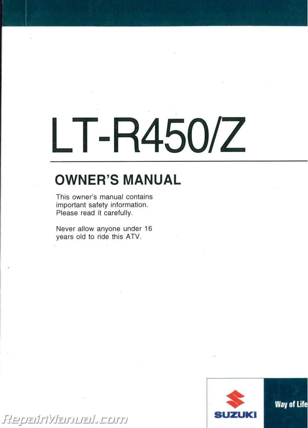 medium resolution of 2009 suzuki lt r450 quadracer atv owners manual jpg