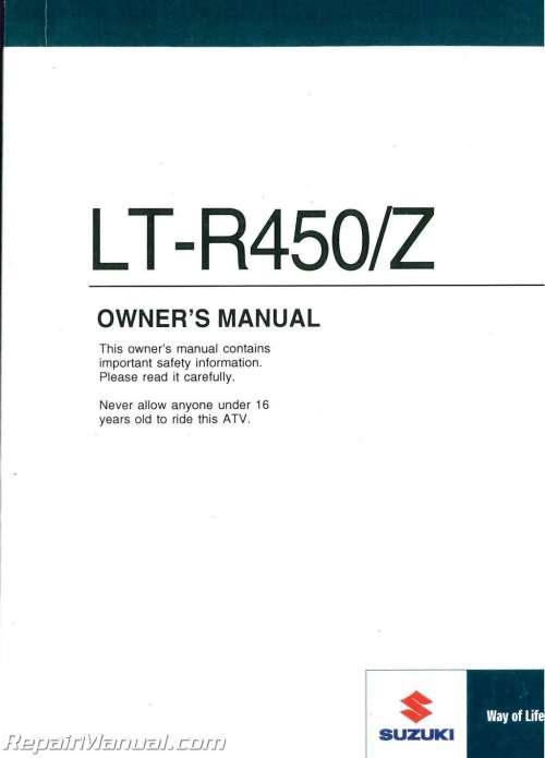 small resolution of 2009 suzuki lt r450 quadracer atv owners manual jpg