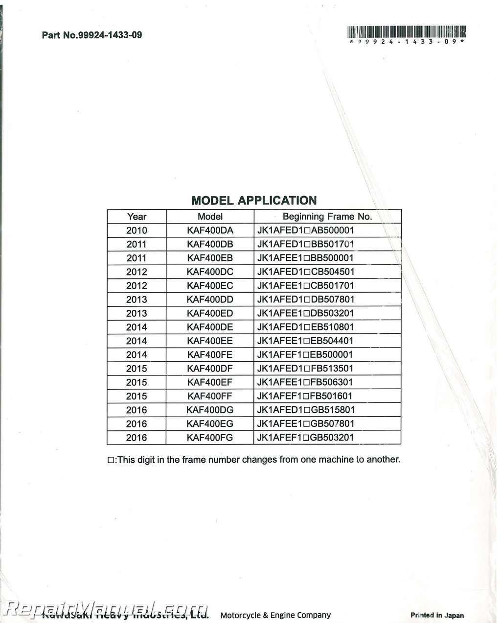 2010-2016 Kawasaki KAF400D Mule 610 4×4 XC Service Manual