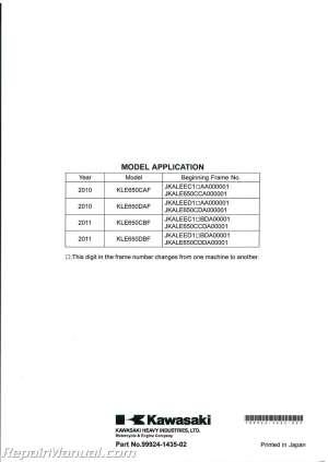 20102011 Kawasaki KLE650 Versys Service Manual : 99924