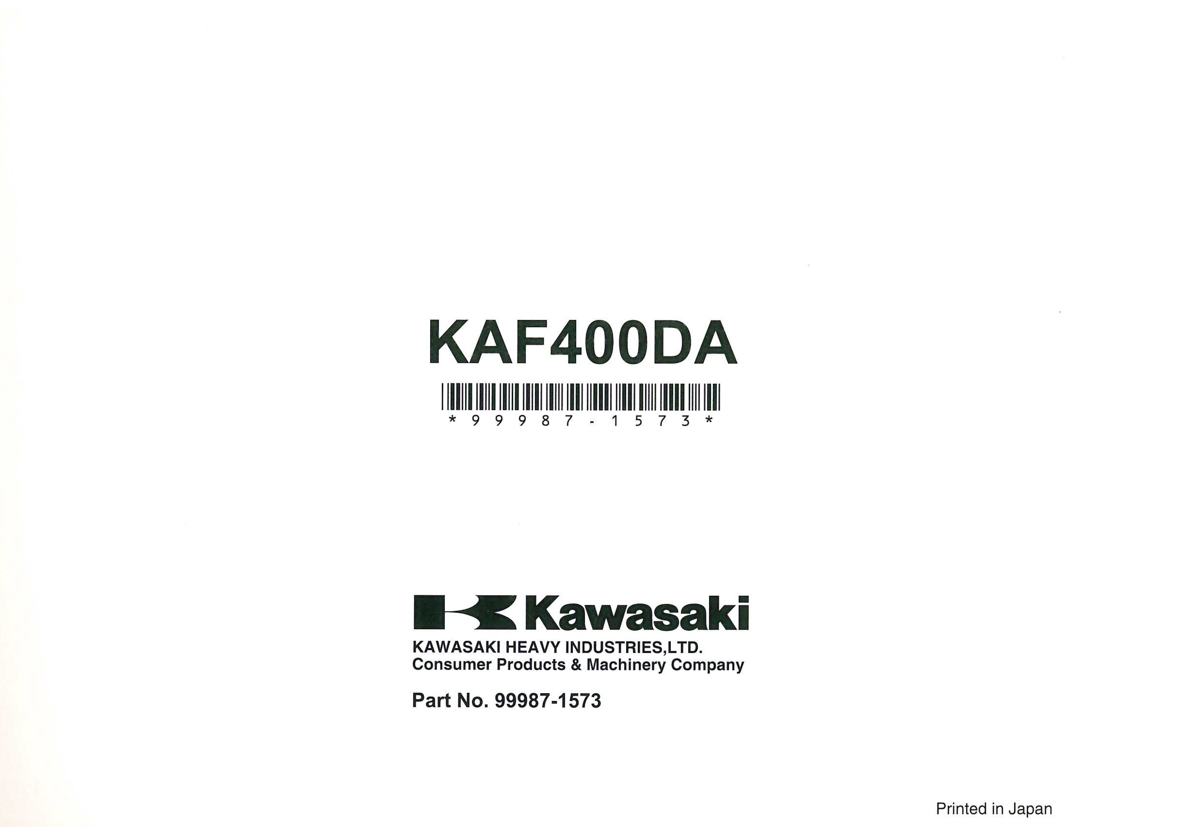 2010 Kawasaki KAF400D Mule 610 4X4 XC Owners Manual