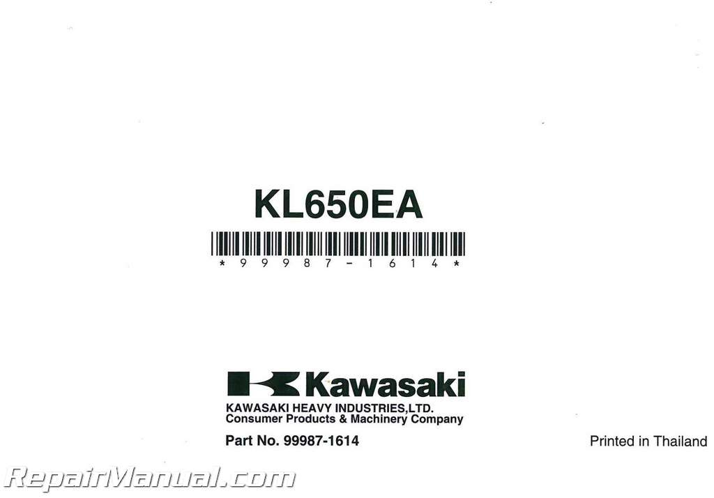 2010 Kawasaki KL650E KLR650 Motorcycle Owners Manual