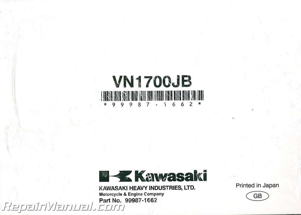 2011 Kawasaki VN1700J Vulcan Vaquero Motorcycle Owners Manual