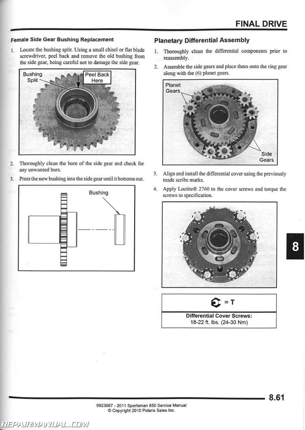2013 Rzr Engine Diagram 2011 Polaris Sportsman 850 Atv Service Manual