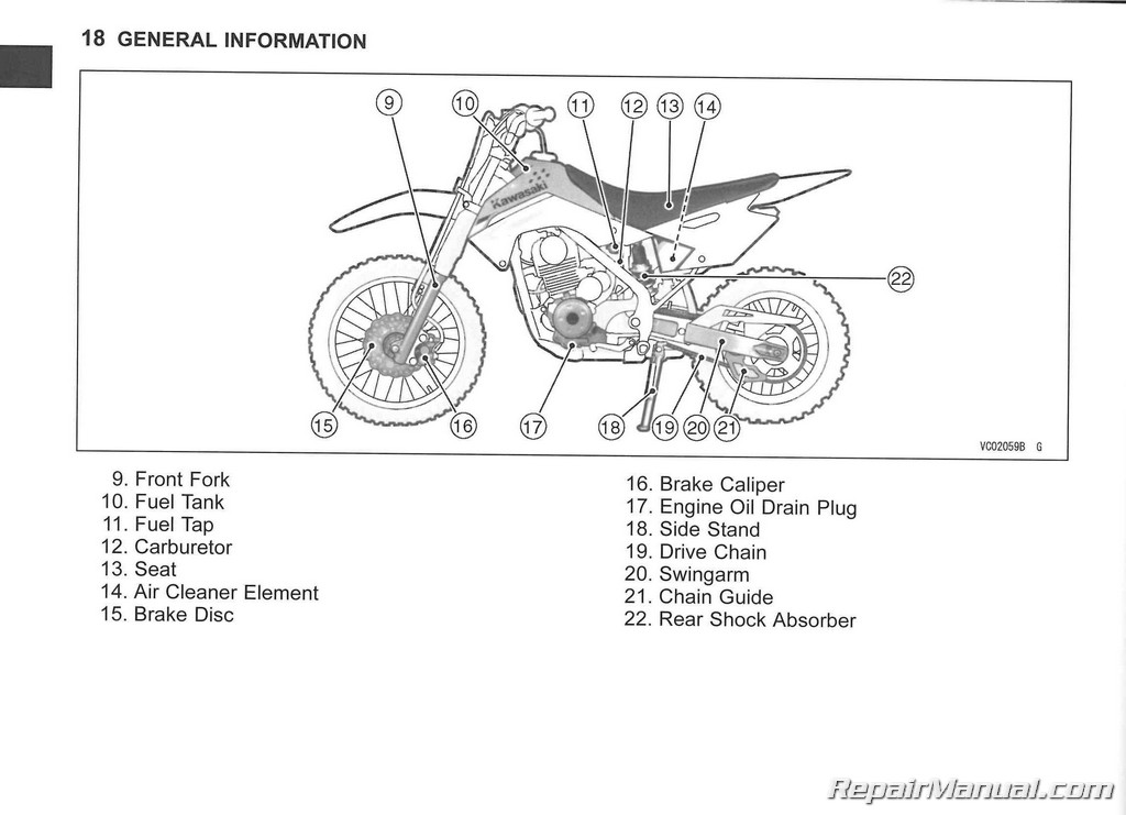 2014 Kawasaki KLX140/L Motorcycle Owners Manual : 99987