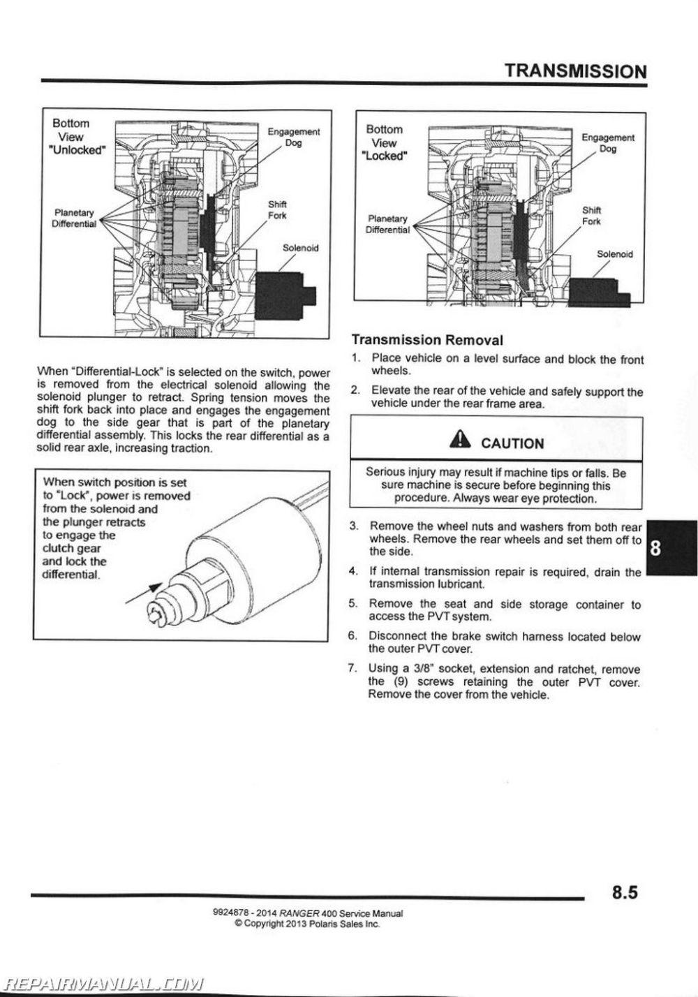 medium resolution of 2014 polaris ranger 400 side by side service manual rh repairmanual com 2013 polaris ranger wiring diagram polaris electrical schematics