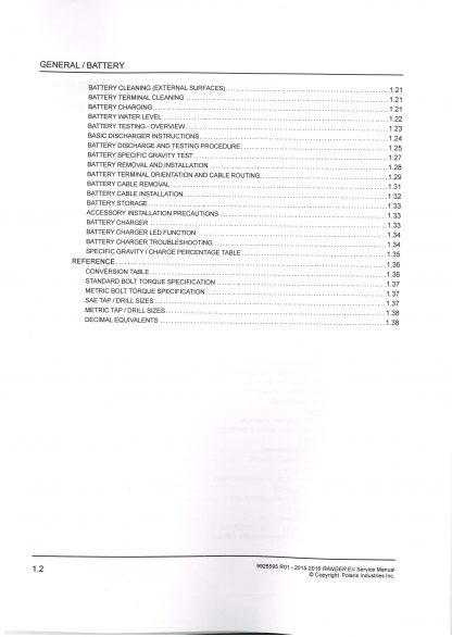 2015 2016 Polaris Ranger EV Electric Service Manual