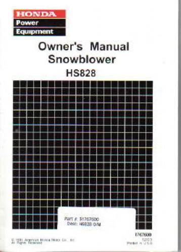 Honda HS828 Snowblower Owners Manual