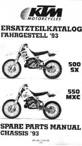 1993 KTM 500SX 550MXC Chassis Spare Parts Manual