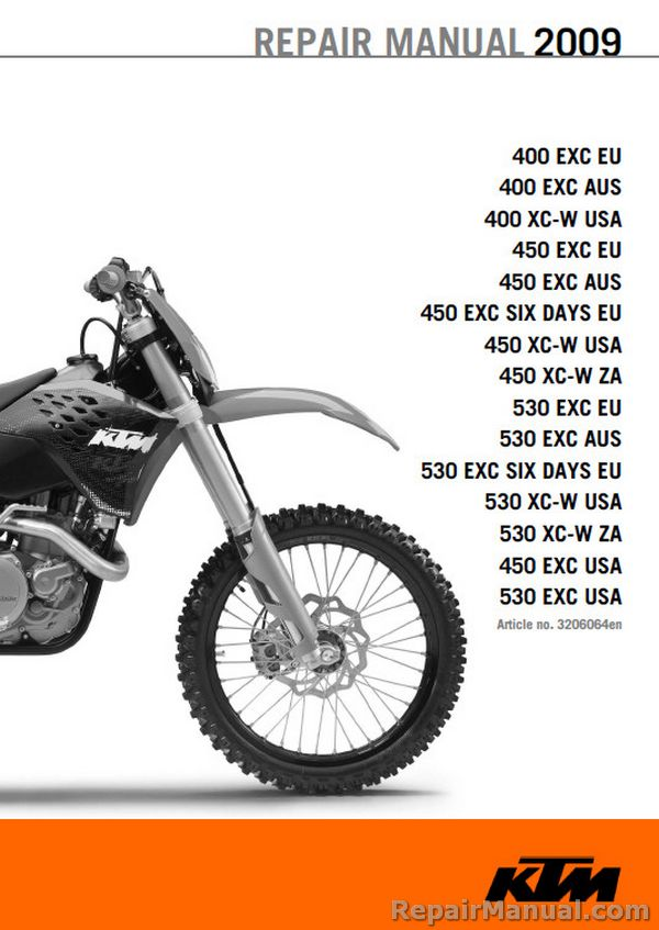 2009 ktm motorcycle service manual 400 450 530 exc xcw six days