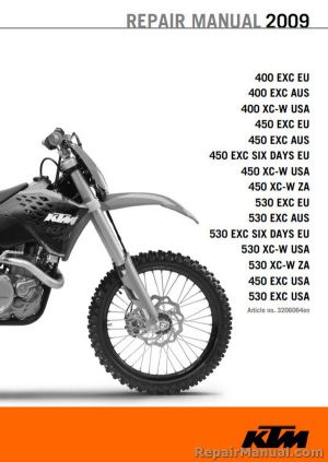 2009 KTM Motorcycle Service Manual 400 450 530 EXC XCW