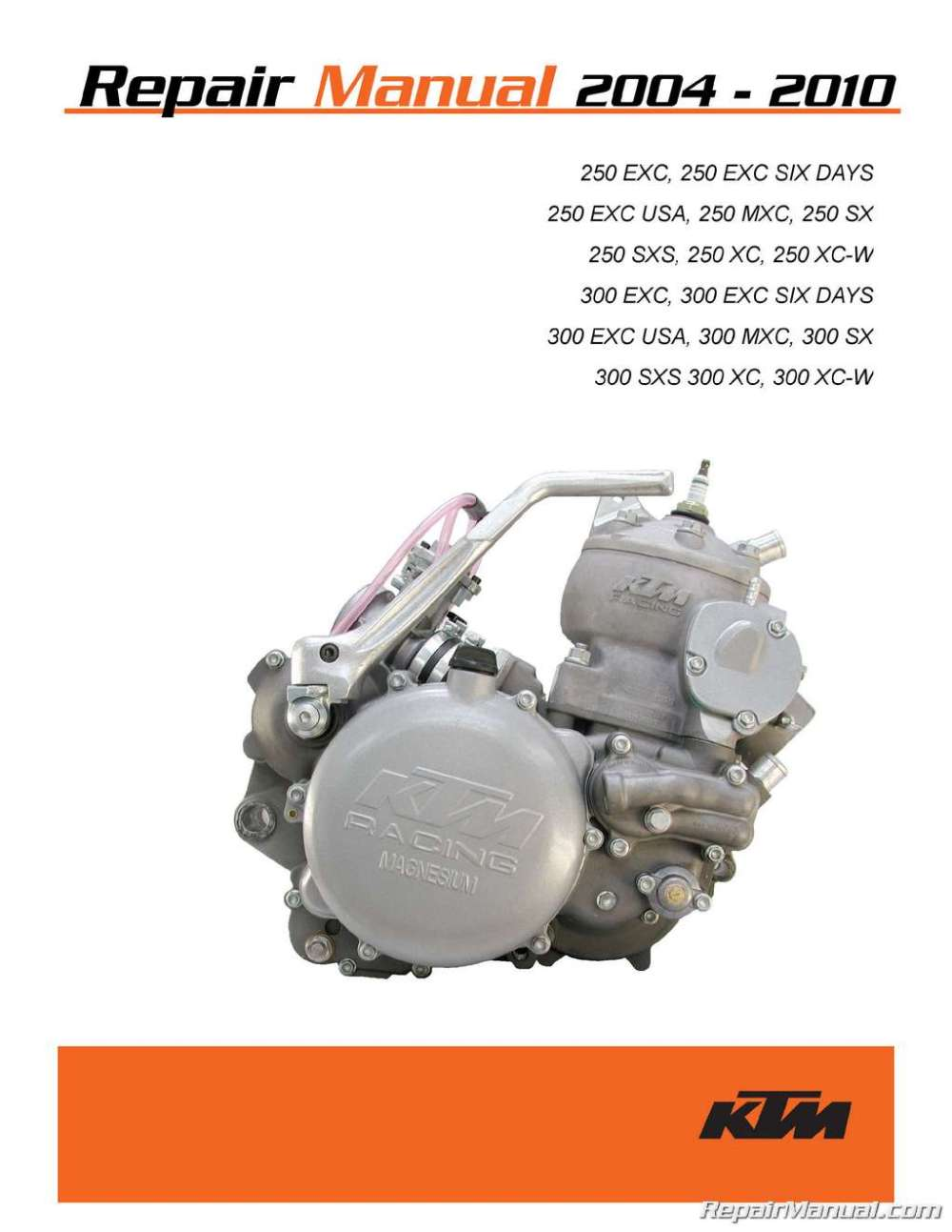 medium resolution of 2004 2010 ktm 250 300 two stroke printed motorcycle service manual bmw engine diagram ktm 250 engine diagram