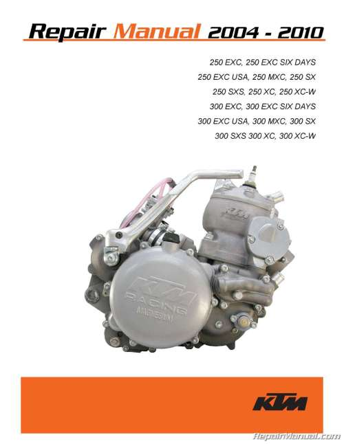 small resolution of 2004 2010 ktm 250 300 two stroke printed motorcycle service manual bmw engine diagram ktm 250 engine diagram