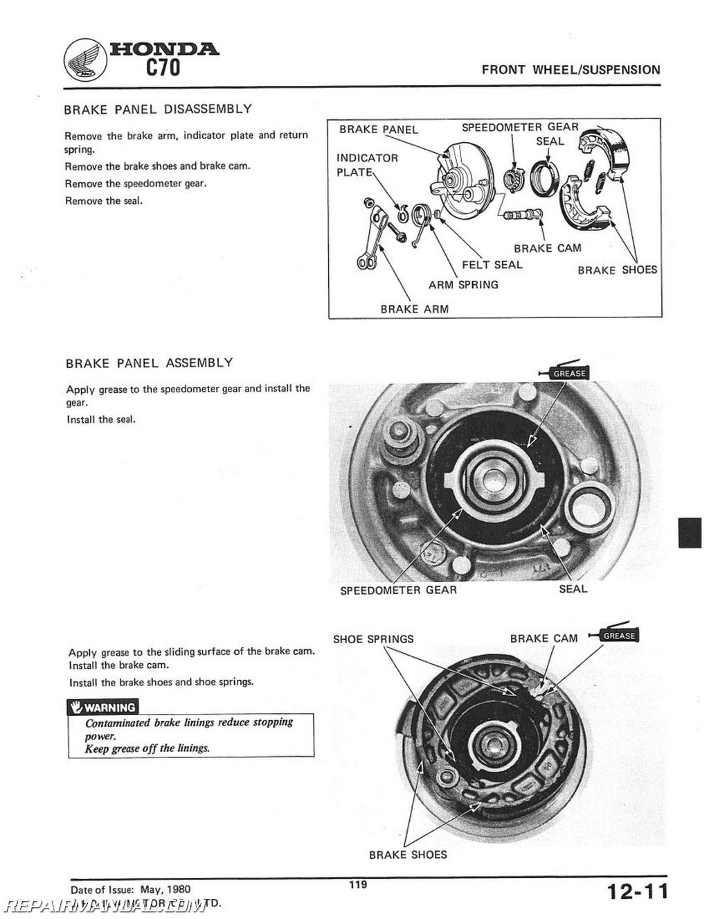 1980-1982 Honda C70 Scooter Workshop Service Repair Manual