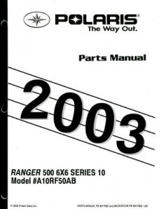 2003 Polaris Ranger Series 10 6×6 Series 10 Parts Manual