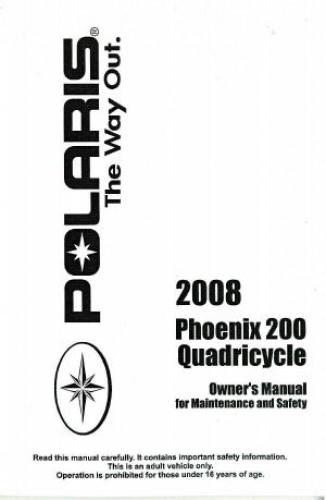 2008 Polaris Quadricycle 200 ATV Owners Manual