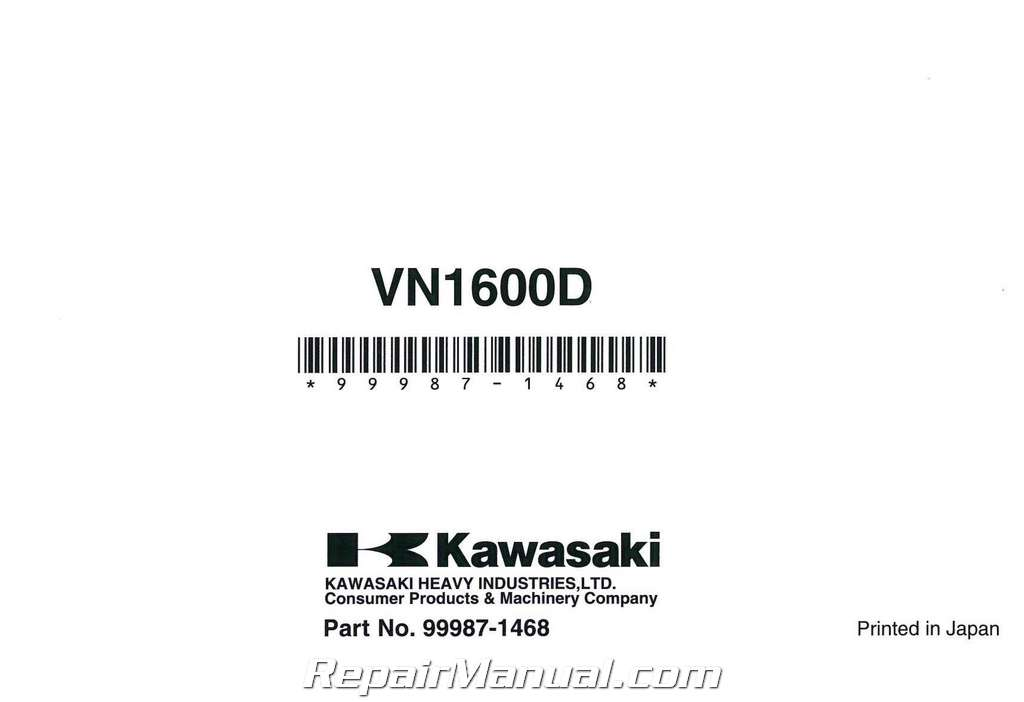 2006 Kawasaki Vulcan 1600 Nomad Owners Manual