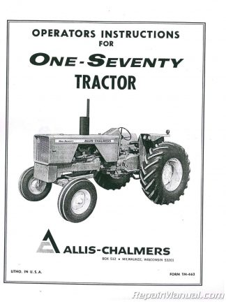 Allis Chalmers 170 Tractor Operators Manual