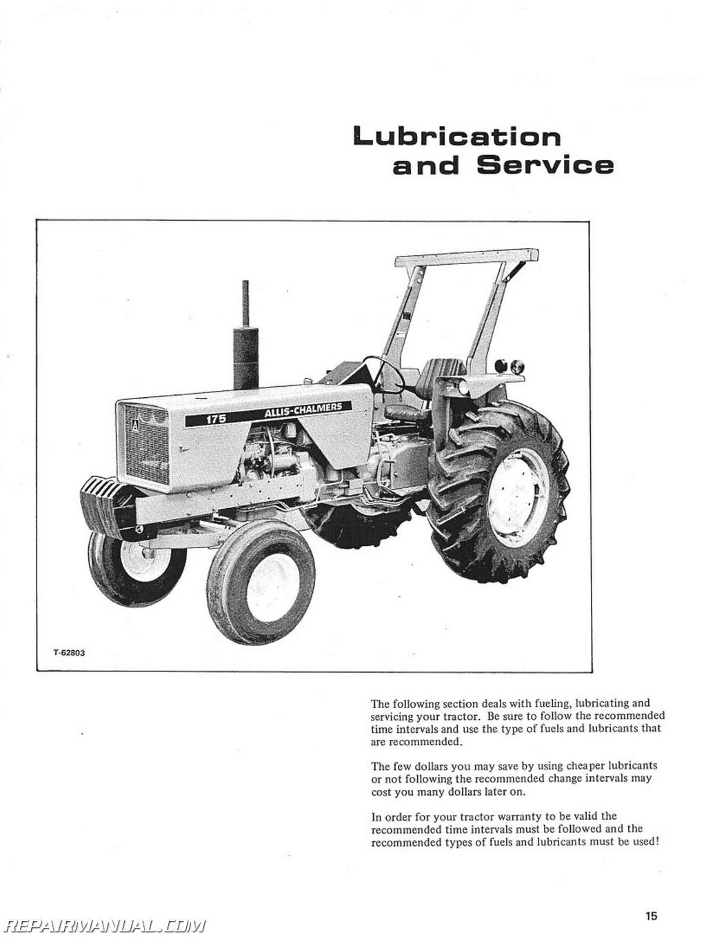 Allis Chalmers 175 Gas And Diesel Operators Manual