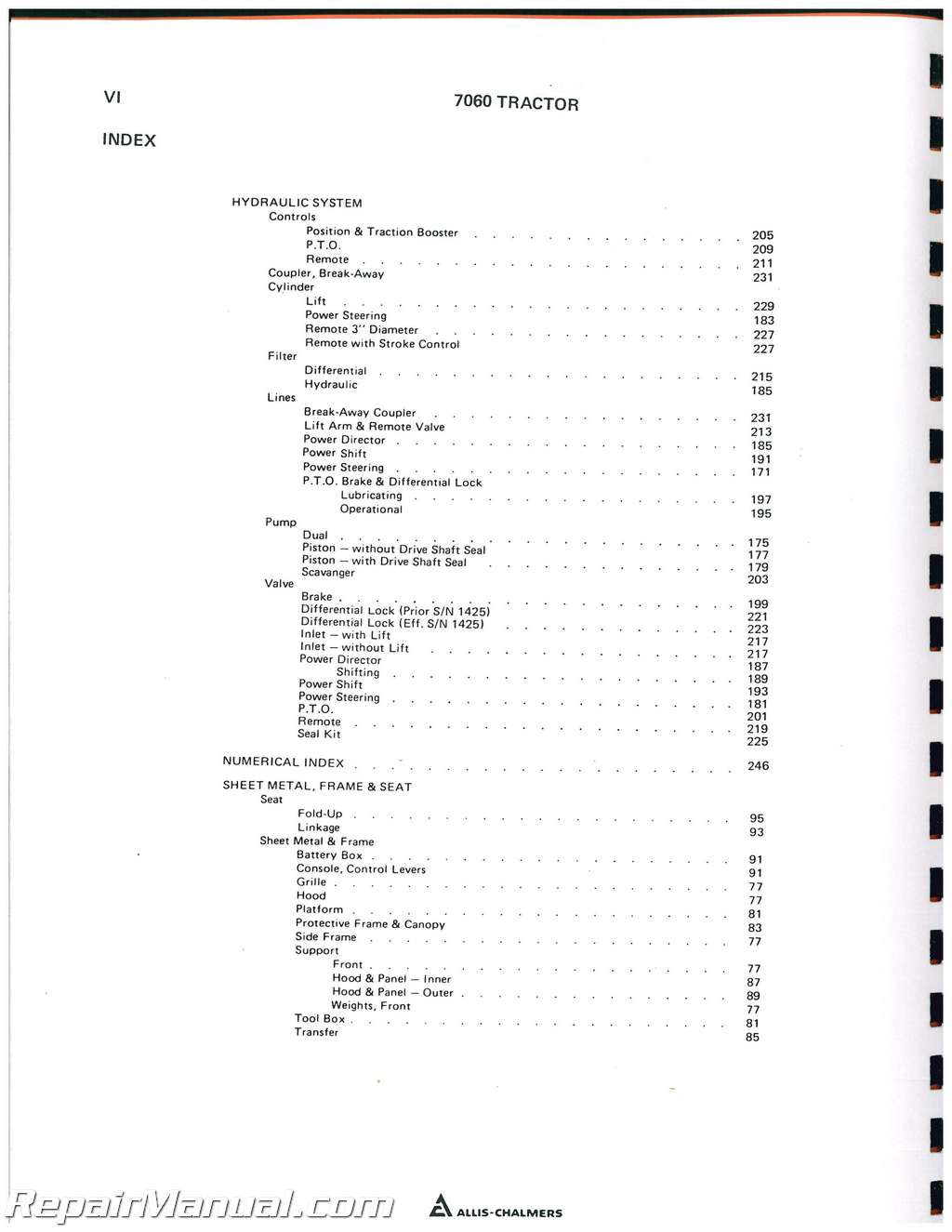 Allis Chalmers 7060 Diesel Tractor Parts Manual