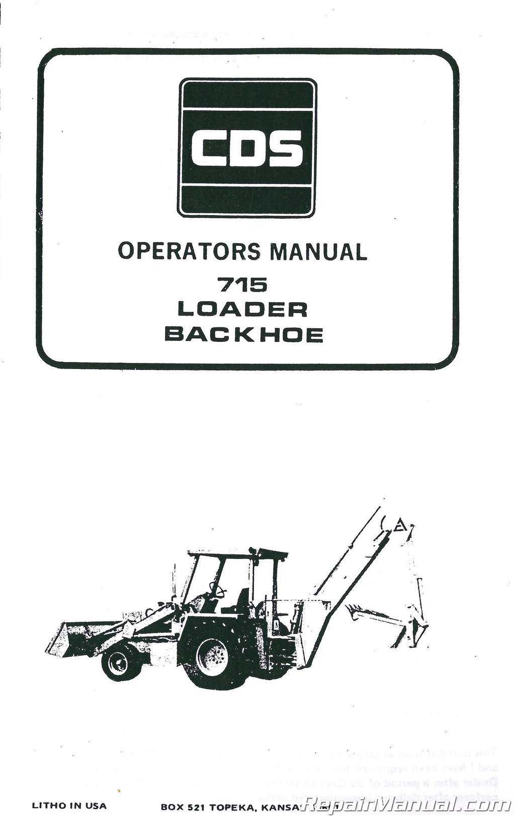 Allis Chalmers 715 Tractor Loader Backhoe Operators Manual