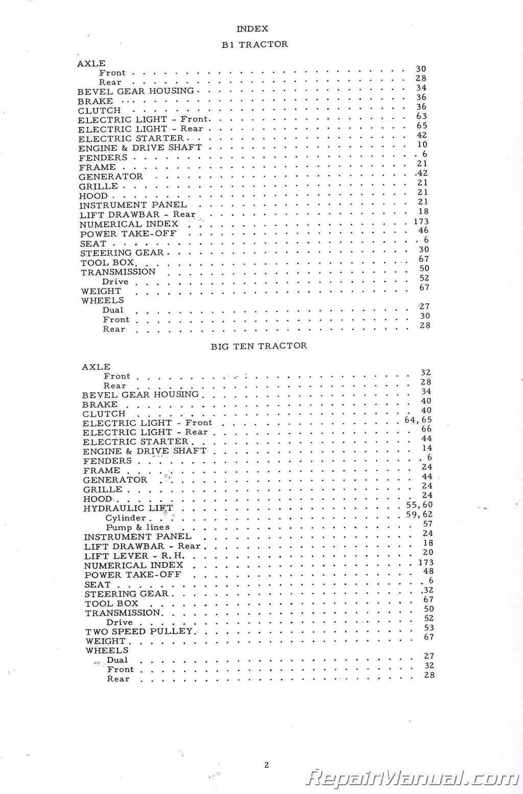 Allis Chalmers B1 B10 B12 Parts Manual