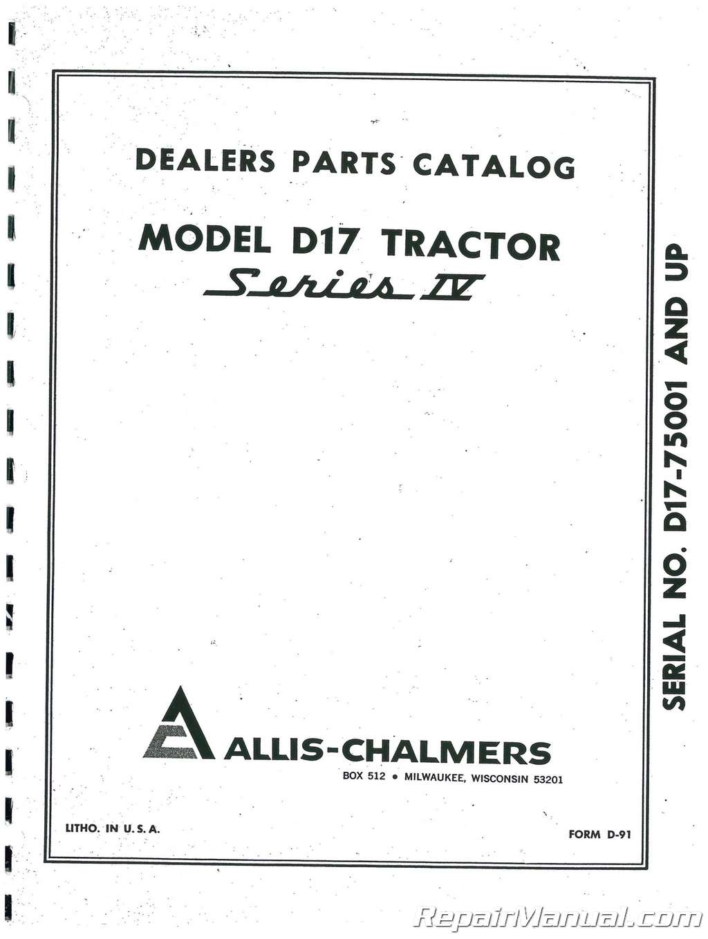 Allis Chalmers D-17 Series IV Parts Manual