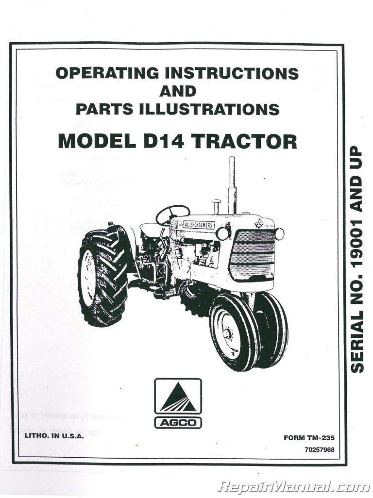 Allis-Chalmers D14 Tractor Operators Manual Serial # 19000