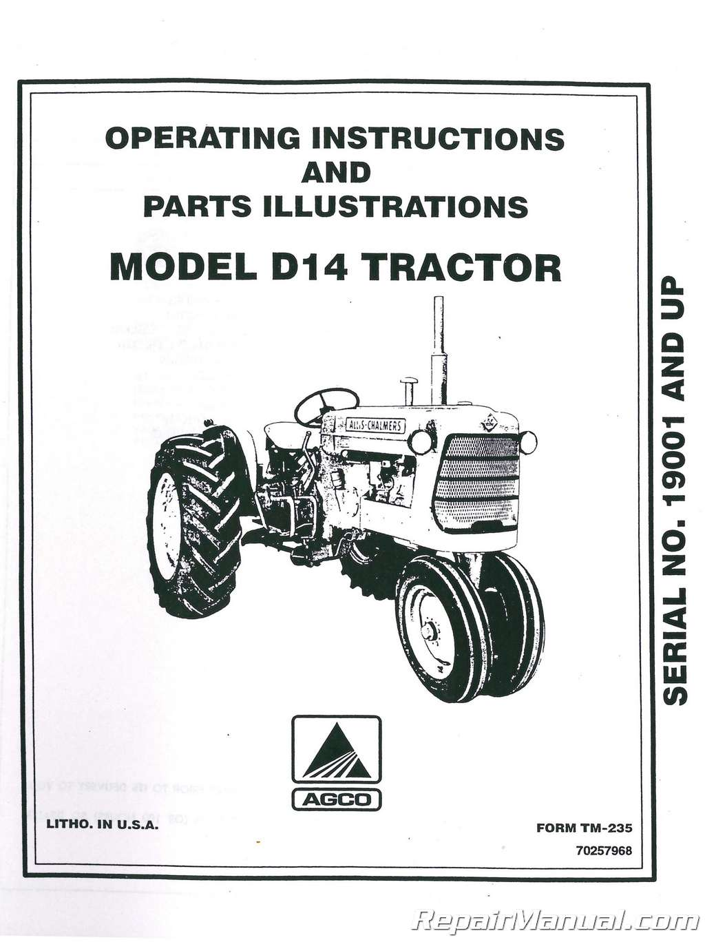 Allis-Chalmers D14 Tractor Operators Manual Serial # 19000