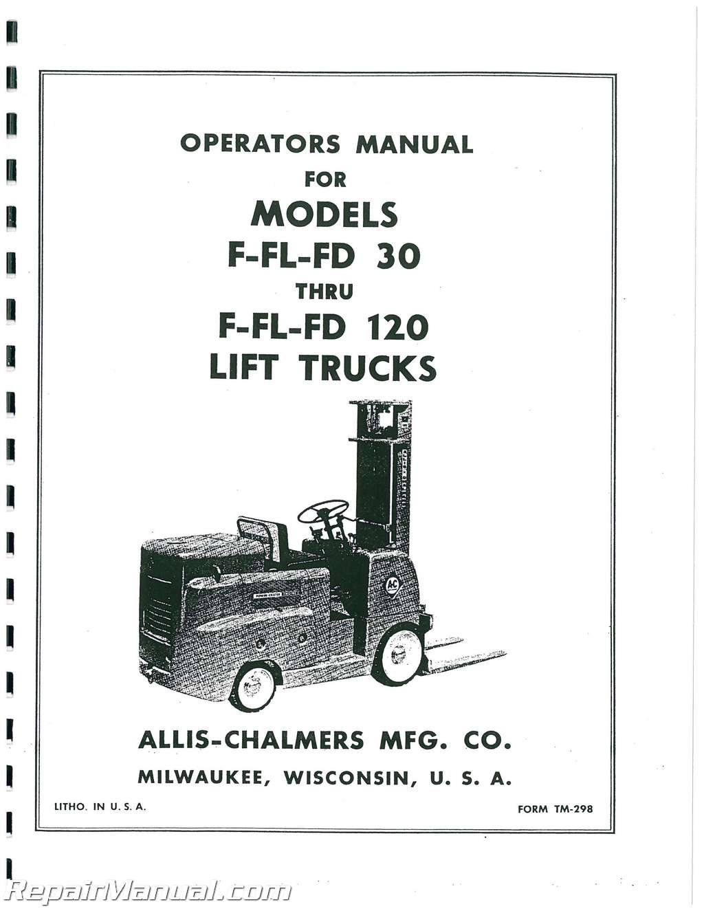 Allis Chalmers F Series Forklift Operators Manual : JS-AC