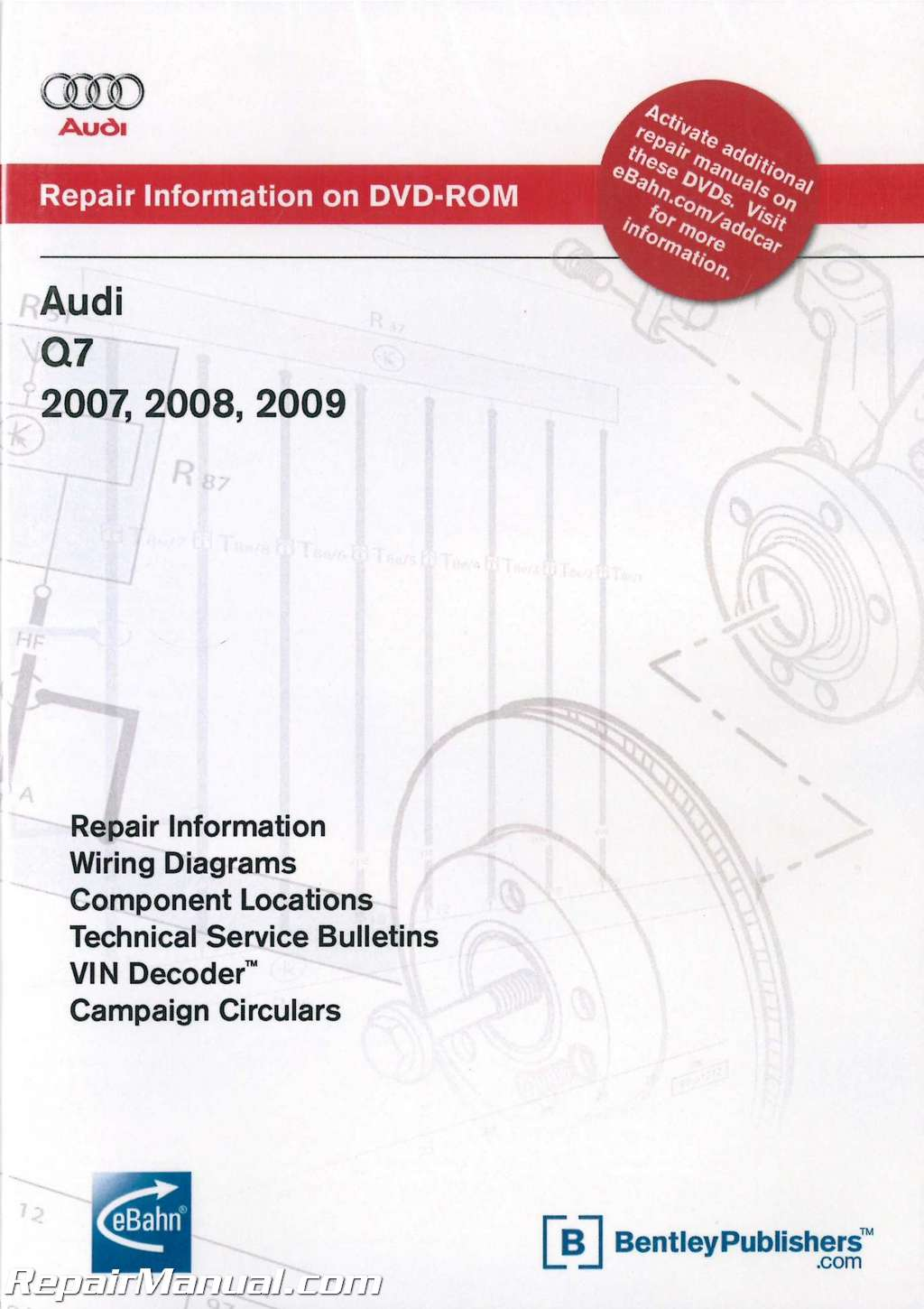 hight resolution of audi q7 2007 2009 repair manual on dvd rom rh repairmanual com audi a4 wiring diagram