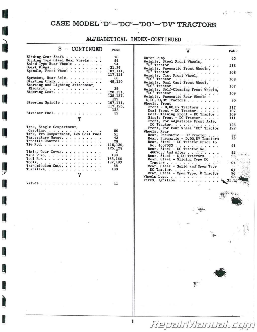 Case D DC DO DV Parts Manual