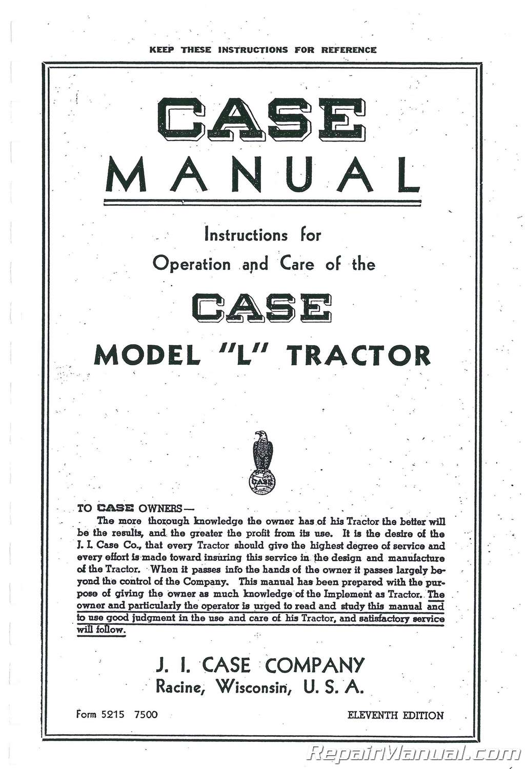 Case L Owners Operators Manual